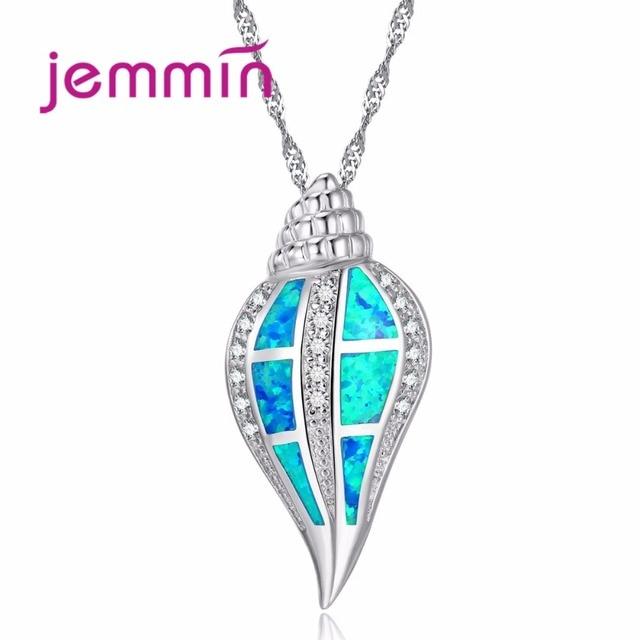 Jemmin New Fashion Blue Geometric AAA Opal 925 Sterling Silver Pendant Necklace