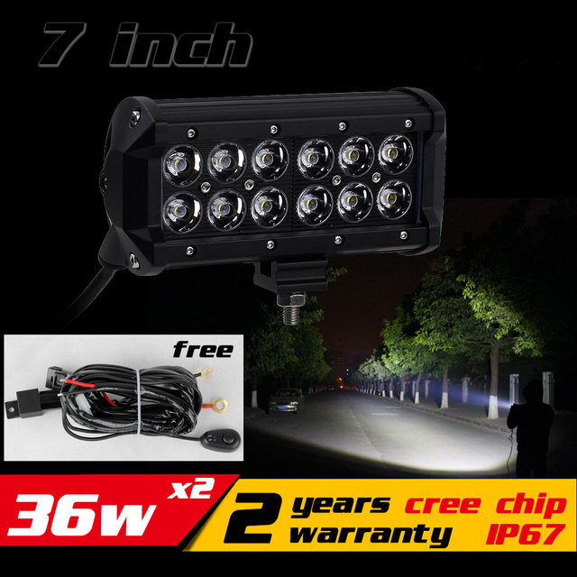 7 inch 36 w led verlichting bar tractor motorfiets atv led offroad bar 4x4 led bar