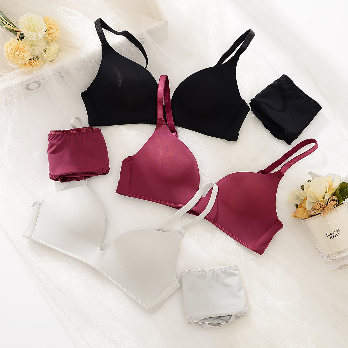 2019 High-end Brand Romantic Temptation   Bra     Set   Women Fashion Stripes Underwear   Set   Push Up Seamless Lade   Bra   and Panties   Set