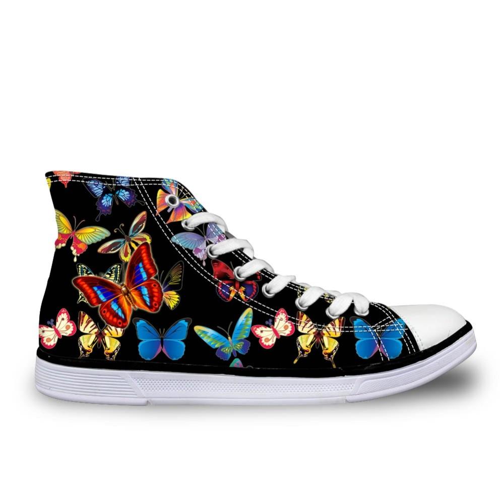 Noisydesings nők színes lepke nyomtatott cipő cipő lányok fekete - Női cipő
