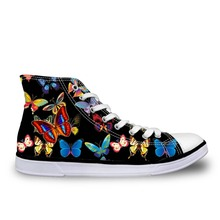 Noisydesings nők színes lepke nyomtatott cipő cipő lányok fekete vászon vulkanitás cipő alkalmi nadrág magas felső cipő