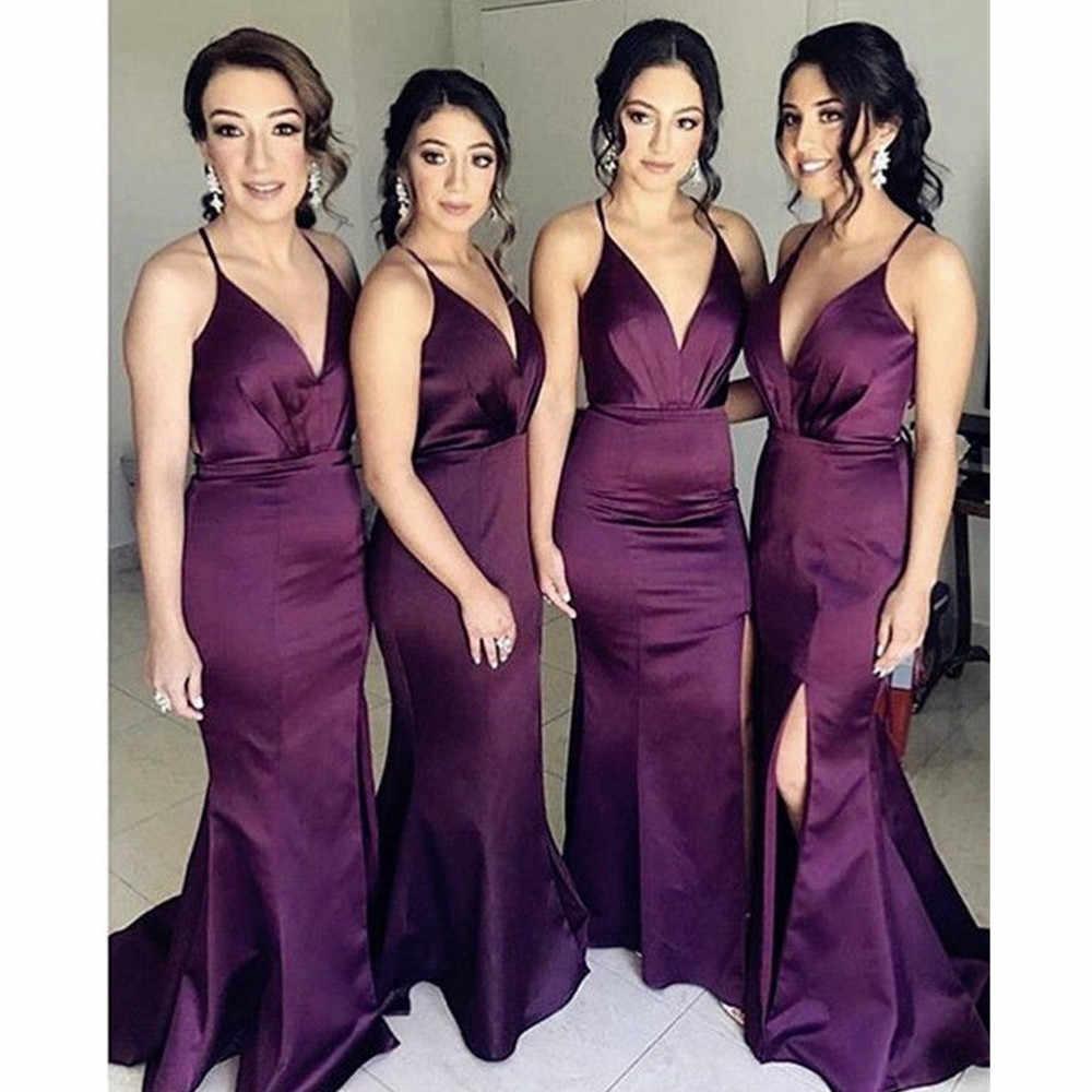 946f2ae705b6 High Quality Purple Satin Bridesmaid Dresses 2019 New Floor Length Mermaid  Spaghetti Strap Sexy Wedding Party