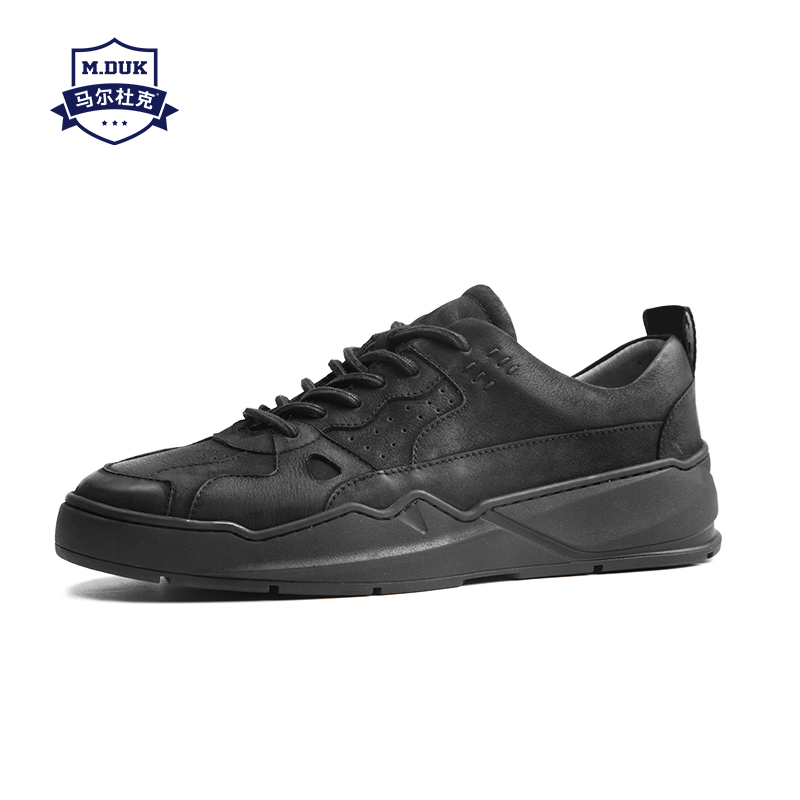 где купить Men's board shoes Korean version 2018 autumn real leather casual shoes men trend black Leisure shoes male cowhide spring autumn дешево