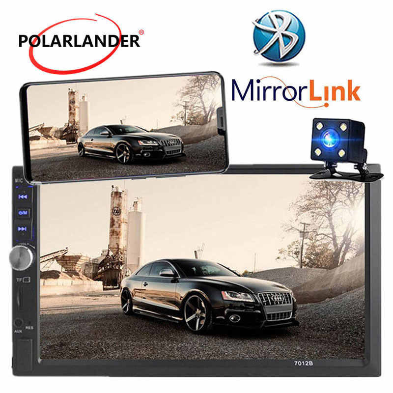 Autoradio 2 Din 7 インチの液晶タッチスクリーン車ラジオカセットプレーヤーメニューの Bluetooth ハンズフリーリアビューカメラ車ミラーリンク