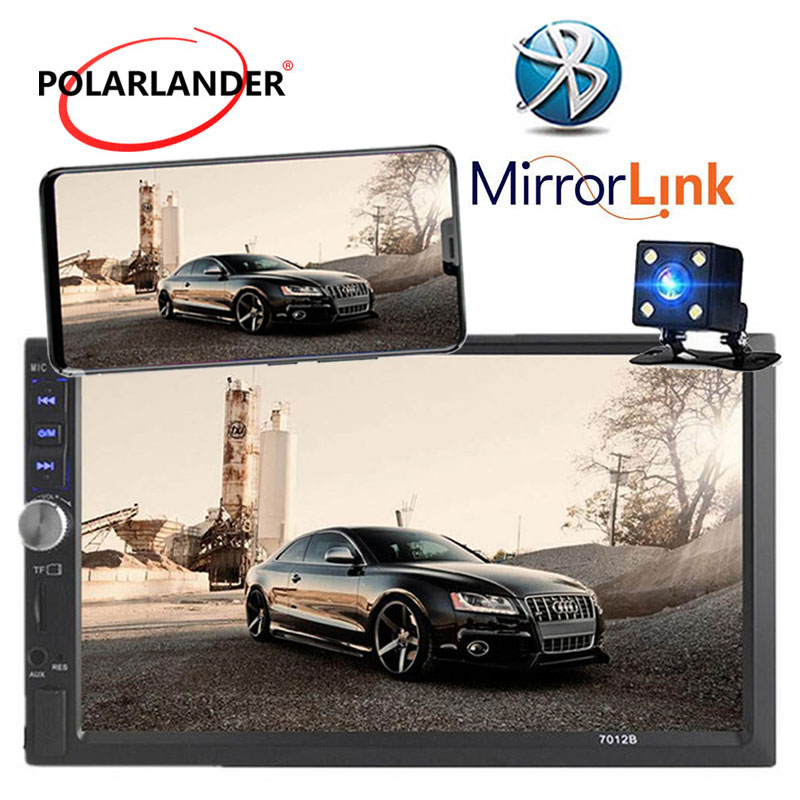 Autoradio 2 Din 7 inch LCD Touch screen car radio cassette player Menu BLUETOOTH hands free rear view camera car Mirror Link image