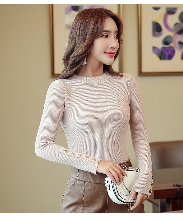 Fashion 19 New Spring Autumn Women Sweater Knitted Long Sleeve O-Neck Sexy Slim Office Lady Button Casual Sweaters Tops 13