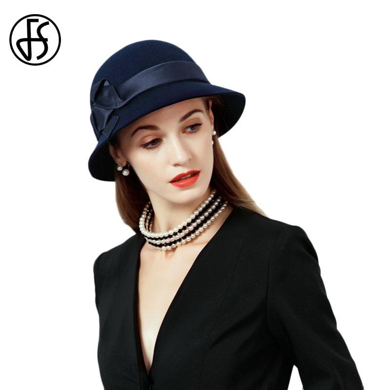 fd9cba9b7a7d3e FS Vintage Black Orange 100% Wool Cloche Hats Women Wide Brim Felt Fedora  Bowler Church Hat Winter Sloppy Ladies ...