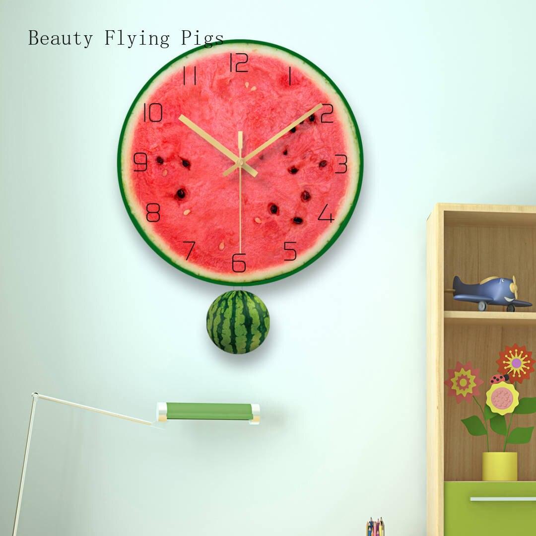 1 pièces salon créatif horloge murale simulation fruits pastèque muet horloge mode maison verre trempé horloge décoration de la maison