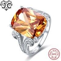 JC 12*16mm Big Morganite & Amethyst Trắng Topaz Rắn 925 Sterling Silver Silver Ring Kích 6 7 8 9 Honourable Phụ Nữ Fine Jewelry Quà Tặng