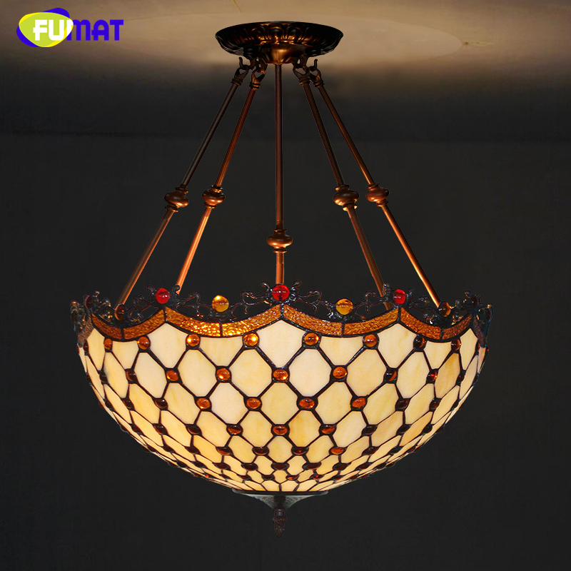 FUMAT Stained Glass Lamp European Brief Art Glass Curtain Beads Pendant Lights Living Room Restaurant Suspension