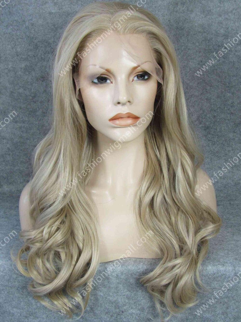 W07 Long Wavy Heat Resistant Synthetic Hair Ash Blonde
