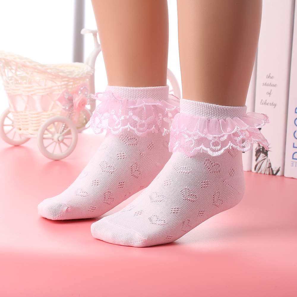 1 Pair Random Pattern Cotton Baby Socks for Girl Toddler Newborn Infant Anti Slip Lace Flower Bow Tie Floor Socks Party Birthday Sock Size S Pink