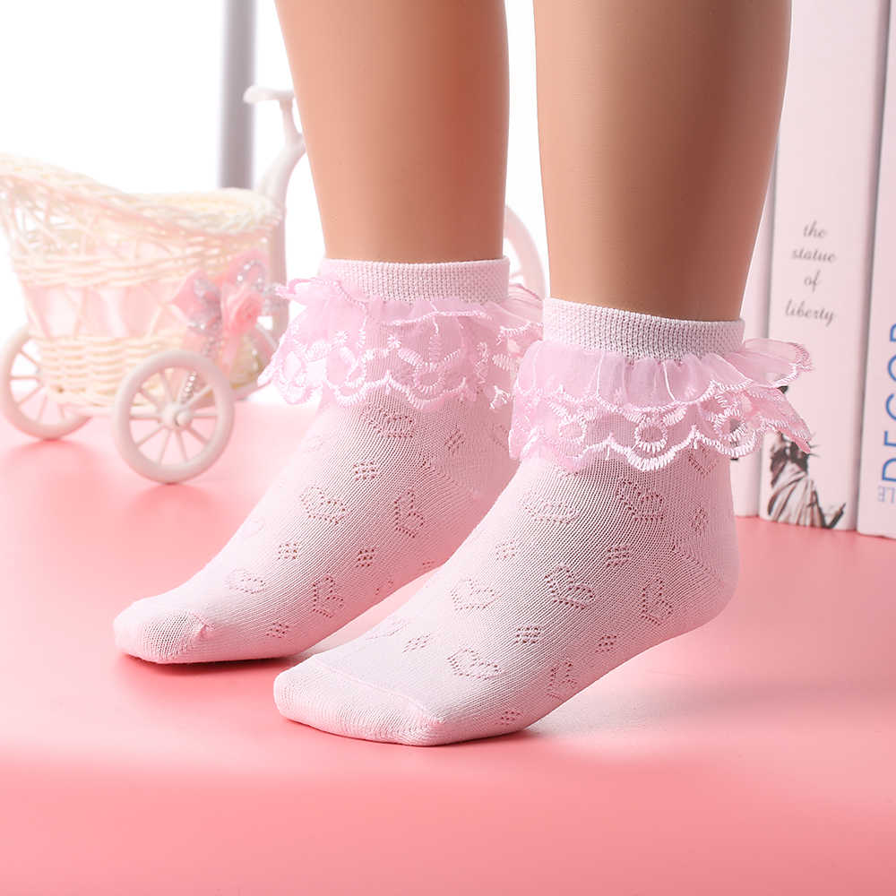 New summer Candy Colors Retro Lace Ruffle Frilly Socks Baby Girls Kids Charm Princess Mesh Socks Breathable Short Ankle Sock