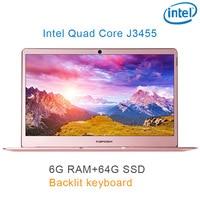 """01 P9-01 רוז זהב 6G RAM 64G SSD Intel Celeron J3455 14"""" מחשב שולחני מחברת משחקים ניידת עם מקלדת מוארת (1)"""