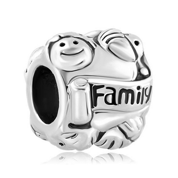 New Arrive 1pcs European Style Red Crystal Love Family Bead Charms Fits Pandora Charm Bracelets & Necklace