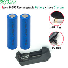 цена на 2pcs 3.7V 2200mAh 18650 Flat  Rechargeable Battery + EU AU Plug Universal LI-lon 18650  Battery Charger