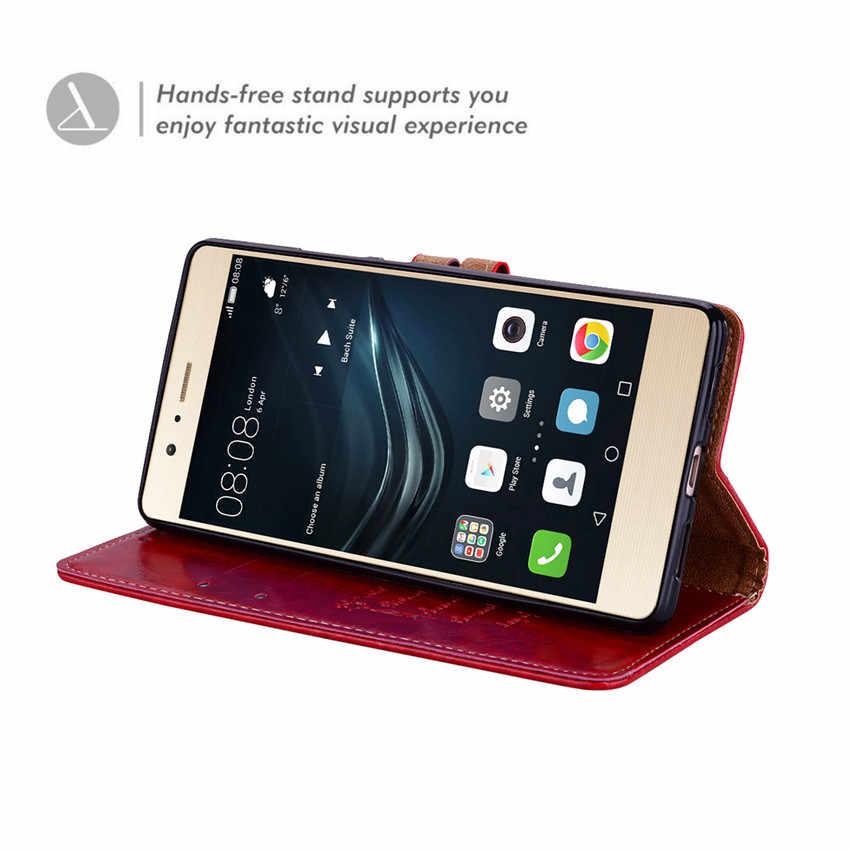 Iş deri cüzdan Flip Case Huawei P9 Lite Deri Kılıf Huawei P 9 lite Için Cüzdan Kapak Standı monte telefon kılıfı kılıfı