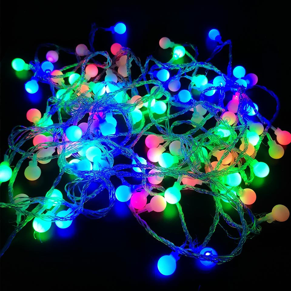 AC 110V 220V Beautiful Ball LED String Decoration Lights Bulb 10M 100LEDs Indoor Outdoor Night Lamp for Christmas Holiday Party