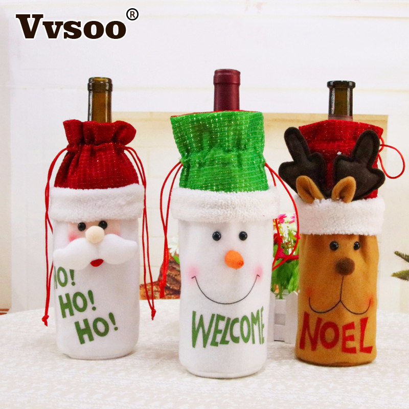 Vvsoo Christmas Decor Santa Claus Wine Bottle Bags Snowman Christmas Gifts Champagne Holders Xmas Home Dinner Party Table Decors