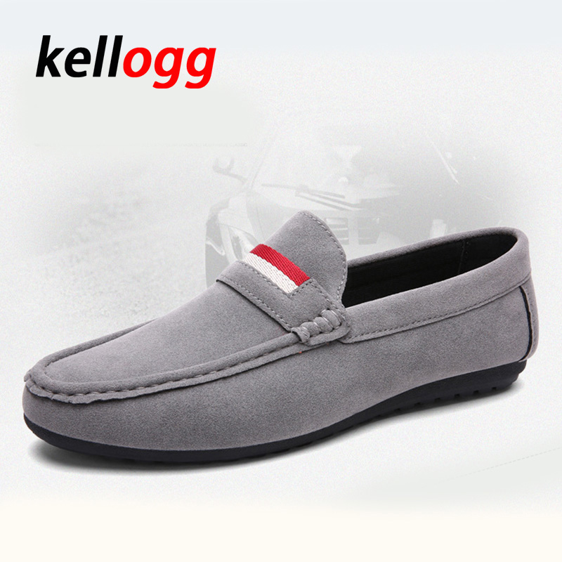 High quality Handmade Men Loafers Moccasins Casual Man Fashion Suede Leather Slip On Men s Portable