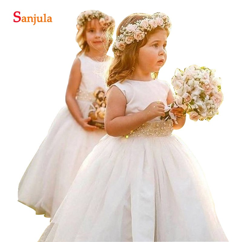 Ivory   Flower     Girls     Dresses   For Wedding And Party A-line Cap Sleeves Satin Tulle Children Formal Gowns With Pearls Sash