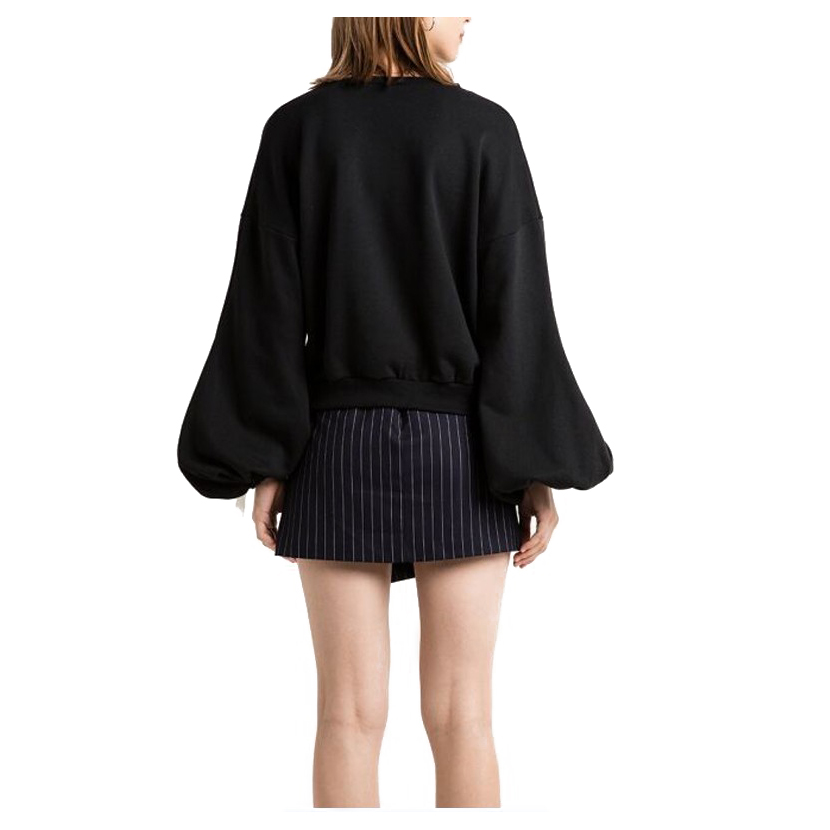 Womens New Spring Autumn Fashion Simple Long Sleeves O Neck Short Sweatshirt Casual Coat Pullover Elegant Bandage Lantern Sle