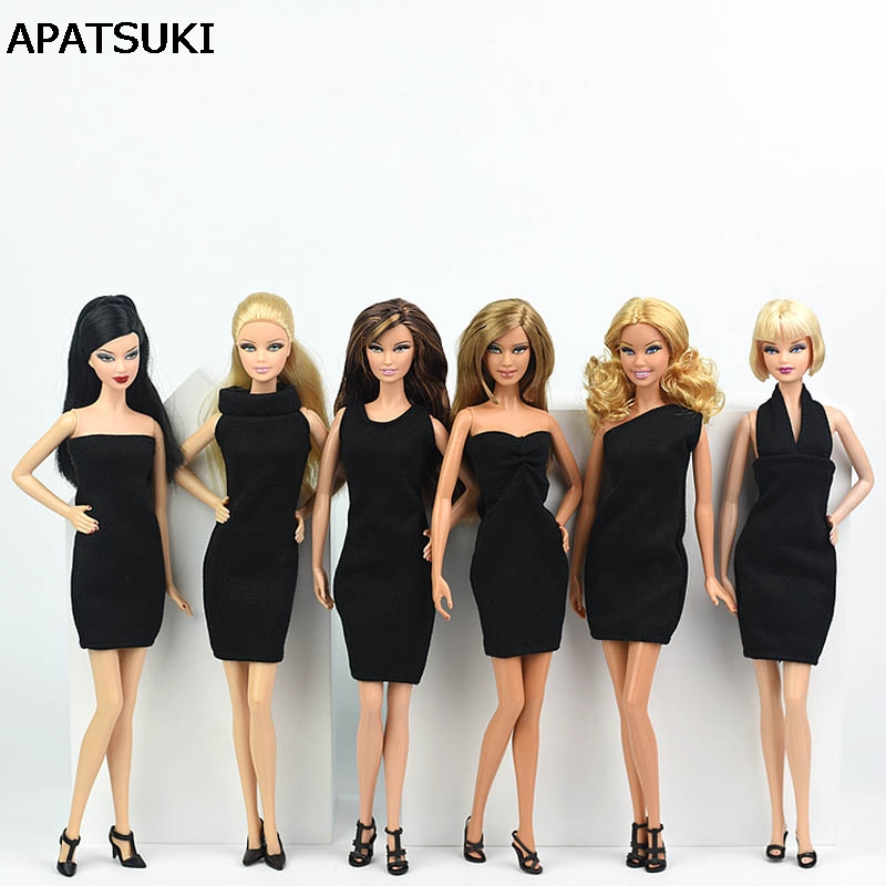 6pcs/lot Black Little Dress For Barbie Doll Sexy One Piece Evening Dresses Vestidoes Clothes For Barbie Princess 1/6 BJD Doll