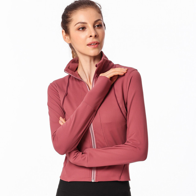 ESHINES Running Jacket For Women Yoga Zipper Long Sleeve Sport Jacket  Fitness Ladies Standing collar Sports Women s Clothing b76fba2da1c1