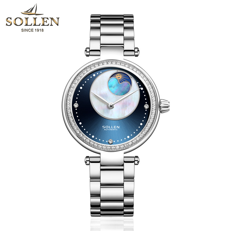 SOLLEN Watch women Automatic Waterproof Top Brand Mechanical Watches Full Stainless steel Rose Gold Clocks Elegant Ladies Watch 2017 new jsdun luxury brand automatic mechanical watch ladies rose gold watches stainless steel ladies tourbillon wrist watch