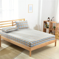 Washed Cotton Bed Sheet 1 Ps Bed Cover Bedspread with Elastic Band Couvre Lit Sabanas Fitted Sheet Mattress Cover