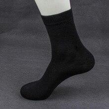 Yüksek Kaliteli Rahat erkek iş çorabı Erkekler Için Pamuk Marka Ekip Sonbahar Kış Siyah beyaz çoraplar Büyük Boy Orta tüp çorap