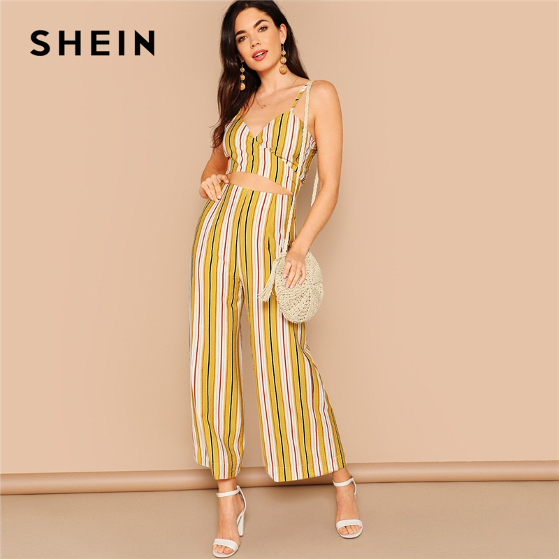 f00c4f33a8 SHEIN Boho Multicolor Striped Crop Wrap Cami and Wide Leg Pants Set Women  Summer Knot Back