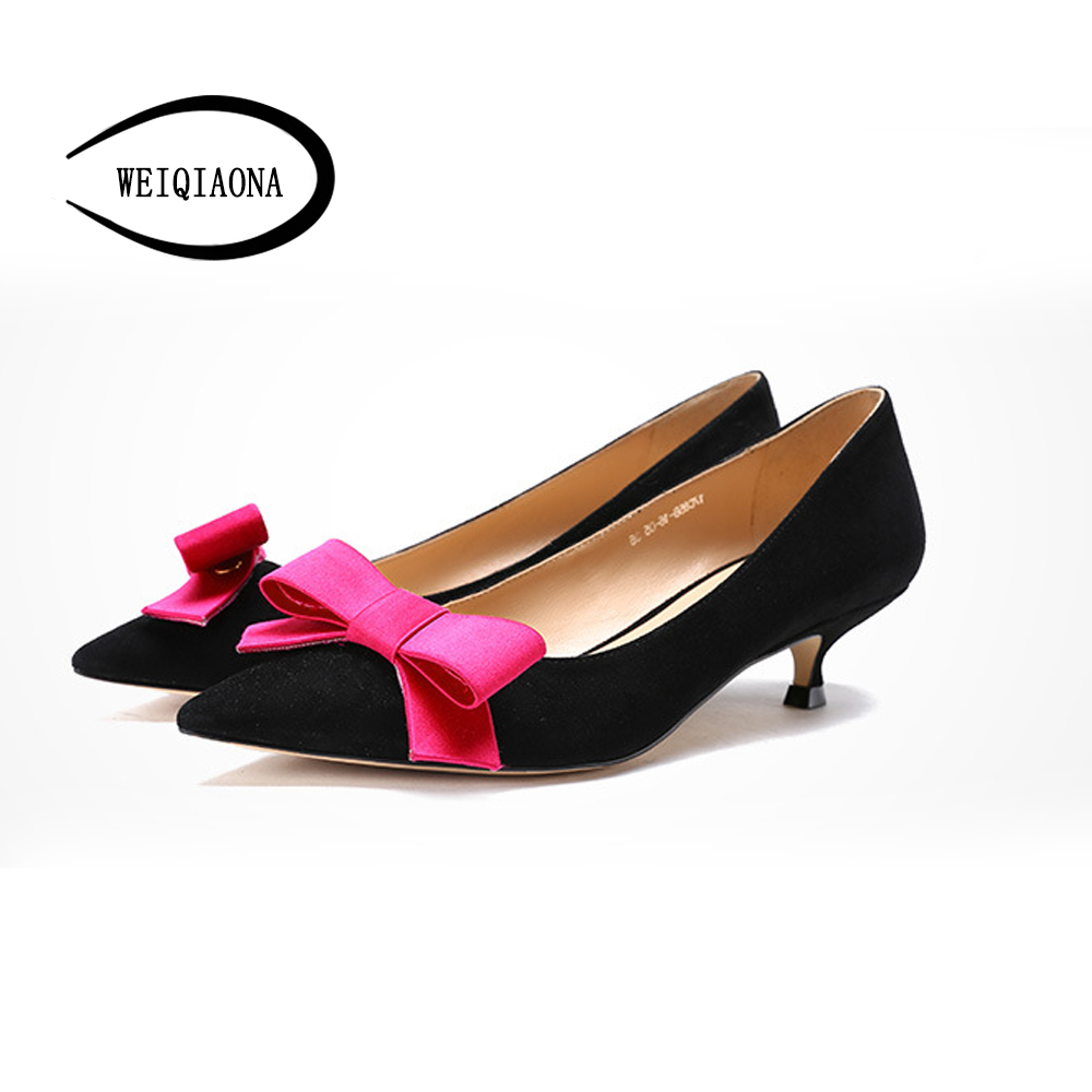 WEIQIAONA new low heel pumps shoes Genuine leather bowknot Fashion kitten heel women shoes shallow Dress shoes Party shoes aiyuqi 2018 new 100% genuine leather women shoes big size 41 42 43 low heel pumps trend ladies shoes women dress shoes
