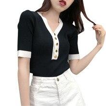 Shintimes V-Neck T-Shirt Female 2019 Button Knitted T Shirt Women Elasticity Summer Tops Tshirt Tee Femme Woman Clothes