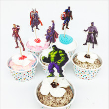 24pcs/set Avengers Party Decoration Cartoon Cupcake Toppers Cake Insert Card Pick Kid Boy Superhero Birthday Party Supplies 24pcs lot cartoon easter bunny flowers cupcake toppers cute white rabbit cake pick hat party decorations baby birthday wedding