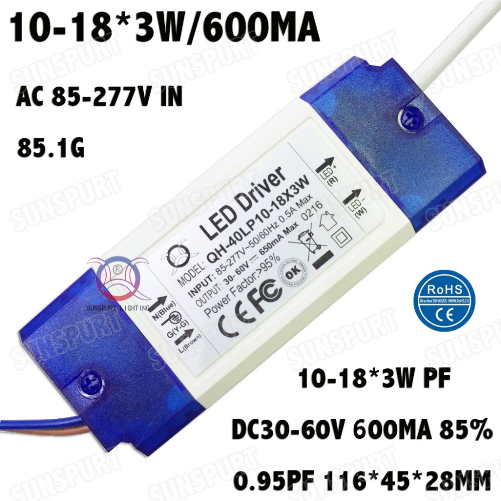 High PFC Isolation 36W AC85-277V LED Driver 10-18x3W 600mA DC30-60V  LEDPowerSupply Constant Current  Ceiling Lamp Free Shipping kinfire circular 6w 420lm 6500k 30 x smd 3528 led white light ceiling lamp w driver ac 85 265v