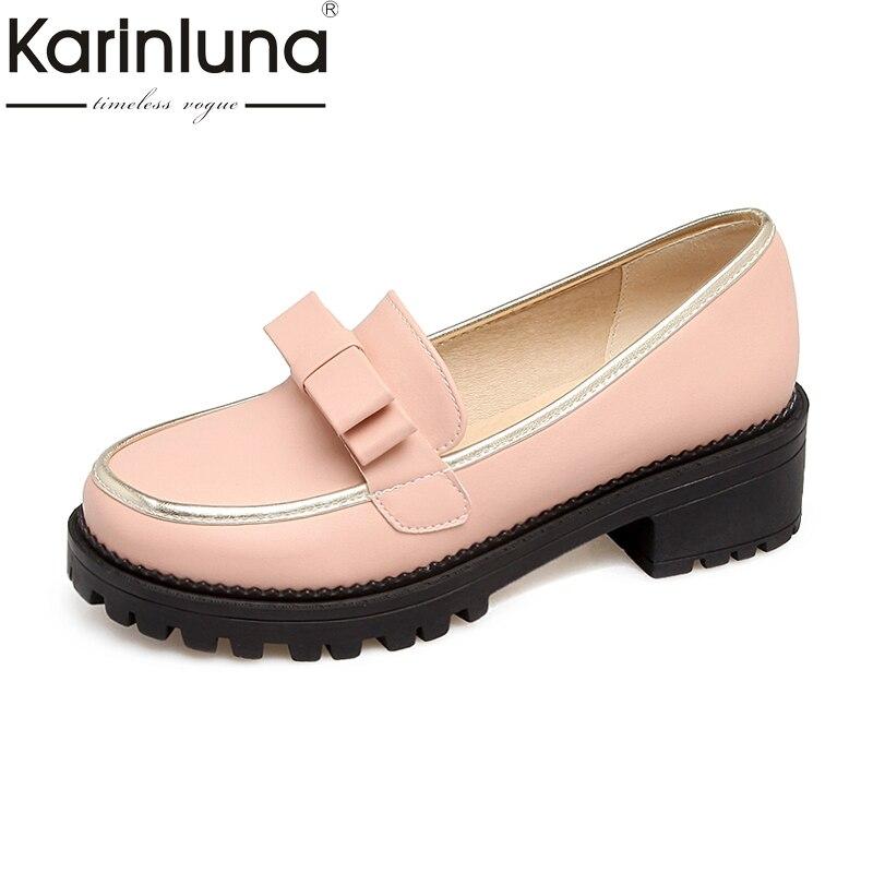 KARINLUNA Big Size 34 43 Women Bow Tie Shoes Vintage Low Square Heel Spring Autumn Footwear