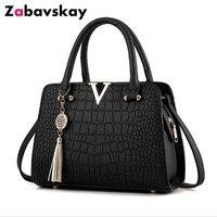 2018 Crocodile Leather Bag V Letters Designer Handbags Luxury Quality Lady Shoulder Crossbody Bags Fringed Women