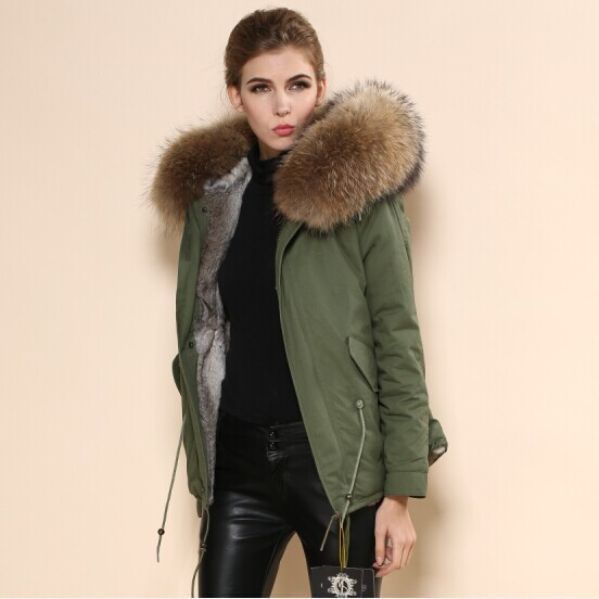 Fabric Name-Brand Trench Green-Fur-Collar Women Top-Quality Furs-Sale Mr