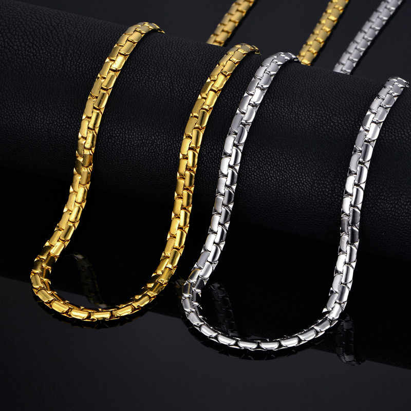 "Mens chain 6MM Long Necklace for Men 20"" 23"" 26"" Gold Color Stainless Steel Flat Chain Necklaces Men Chain Necklace"