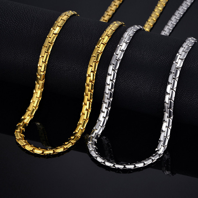 """Mens chain 6MM Long Necklace for Men 20"""" 23"""" 26"""" Gold Color Stainless Steel Flat Chain Necklaces Men Chain Necklace"""