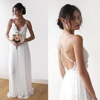 Boho Wedding Dreess 2019 Beach Bride dress Chiffon Lace Appliques Backless Cheap Wedding Dresses Modest Hot sale