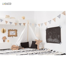 Laeacco Tent Wigwam Baby Party Gray Wall Flags Blanket Pillow Boudoir Interior Photo Backdrops Background For Studio