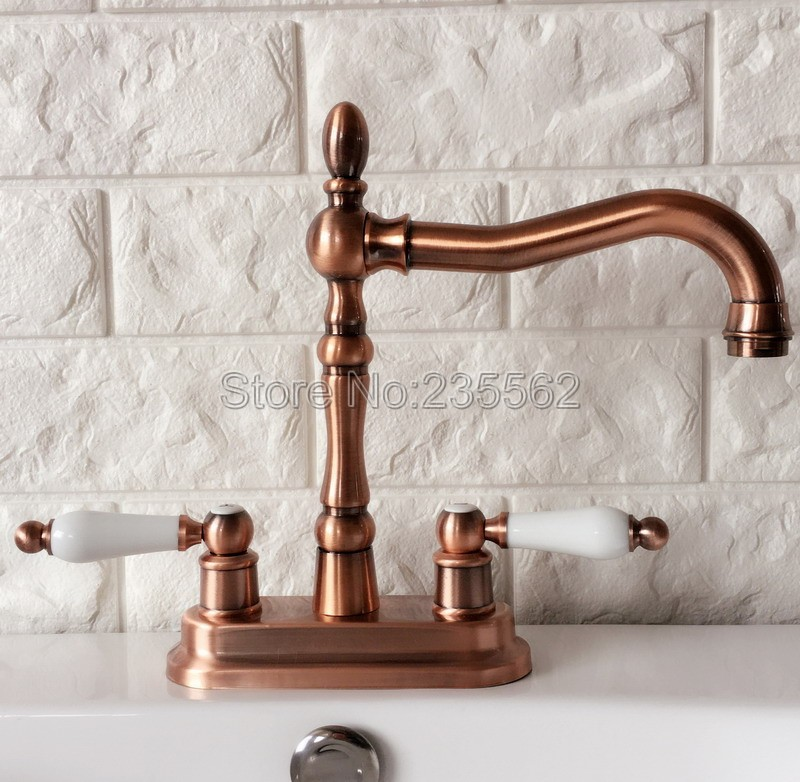 Antique Red Copper Swivel Spout Bathroom Basin Faucet and Kitchen Sink Faucets Dual Handle Cold / Hot Water Mixer Taps lrg049Antique Red Copper Swivel Spout Bathroom Basin Faucet and Kitchen Sink Faucets Dual Handle Cold / Hot Water Mixer Taps lrg049