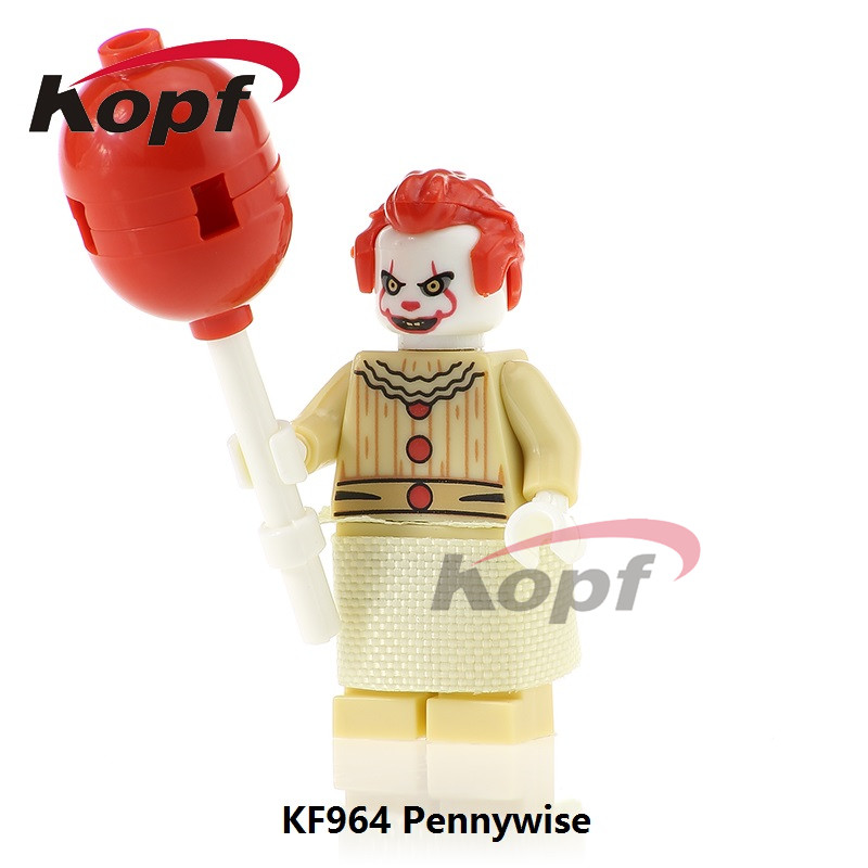 Single Sale Super Heroes The Clown Pennywise Redux Classic Ronald McDonald Building Blocks Children Christmas Gift Toys KF964 single sale super heroes red yellow deadpool duck the bride terminator indiana jones building blocks children gift toys kf928