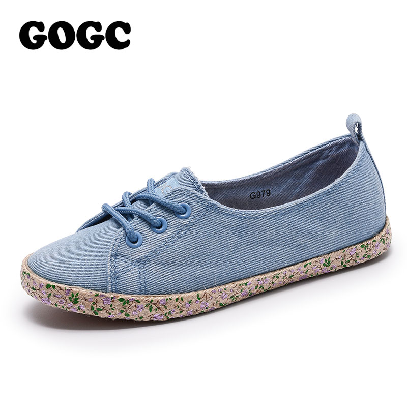GOGC 2018 New Floral Denim Slipony Women Breathable Shallow Shoes Footwear Flat Shoes Women Fashion Sneakers Women Summer Spring