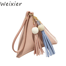 WEIXIER 2019 Mini Triangle Women Clutch Purse Hand Bag Wristlets Strap Small Women Bag Lady Clutches Casual Phone Package ZK-28