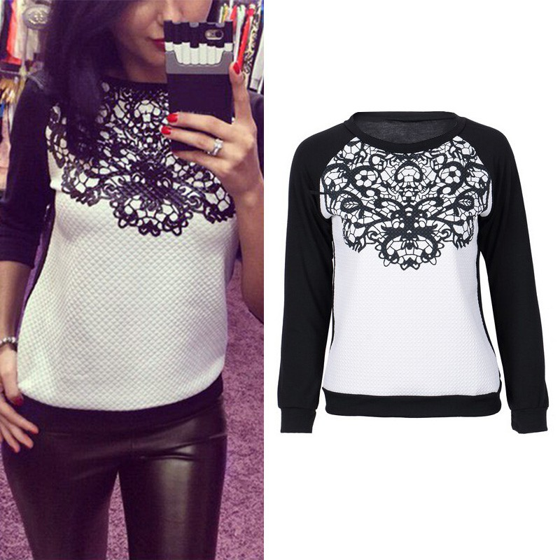 New Women Autumn Winter Cloth Loose Long Sleeve Lace Patchwork Shirts Sweatshirts Hoodies Plus Size