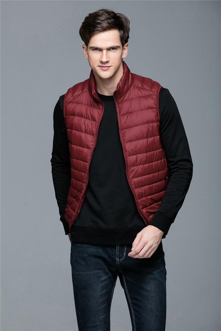 2017 New Brand Men Sleeveless Jacket Winter Ultralight 90% White Duck Down Vest Male Slim Vest Mens Windproof Warm Down Jacket