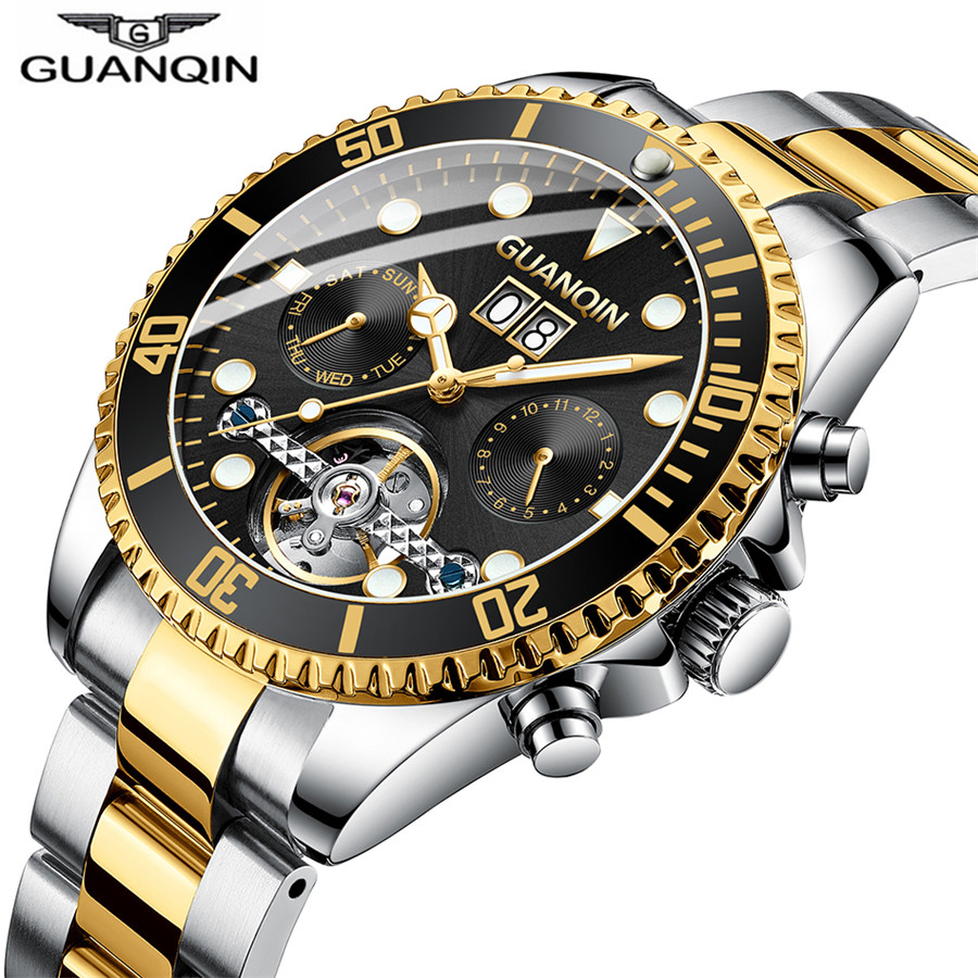 Business gold black Luminous Mechanical Swim Watch Men Tourbillon Waterproof 50M Casual Calendar Wristwatch Luminous watches NEWBusiness gold black Luminous Mechanical Swim Watch Men Tourbillon Waterproof 50M Casual Calendar Wristwatch Luminous watches NEW